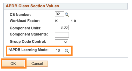 Class APDB Mapping Values Learning Mode