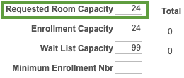 Enrollment Control Tab - room cap