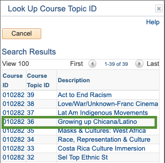 Select Course Topic