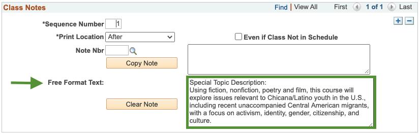 Special Topic Description
